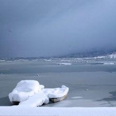 久美浜湾の雪景色